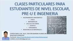 CLASES PARTICULARES PARA ESTUDIANTES DE NIVEL ESCOLAR, PRE-U E INGENIERIA