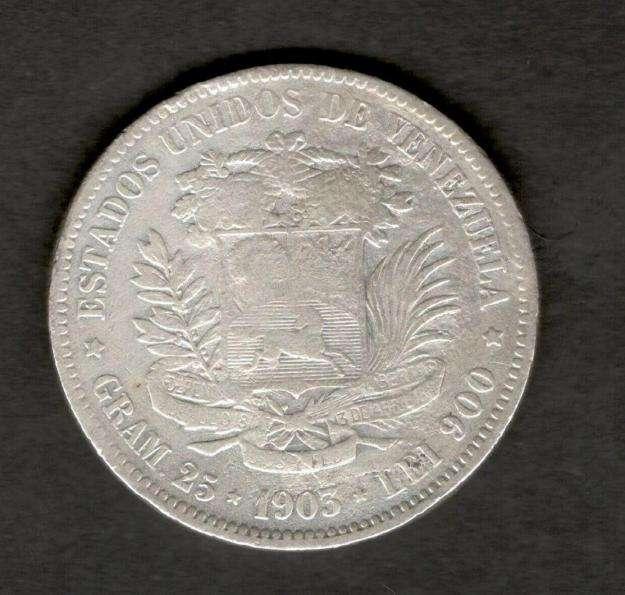 Venezuela 1903 FUERTE 5 Bolivares Silver Coin 25 Grams 90 Silver