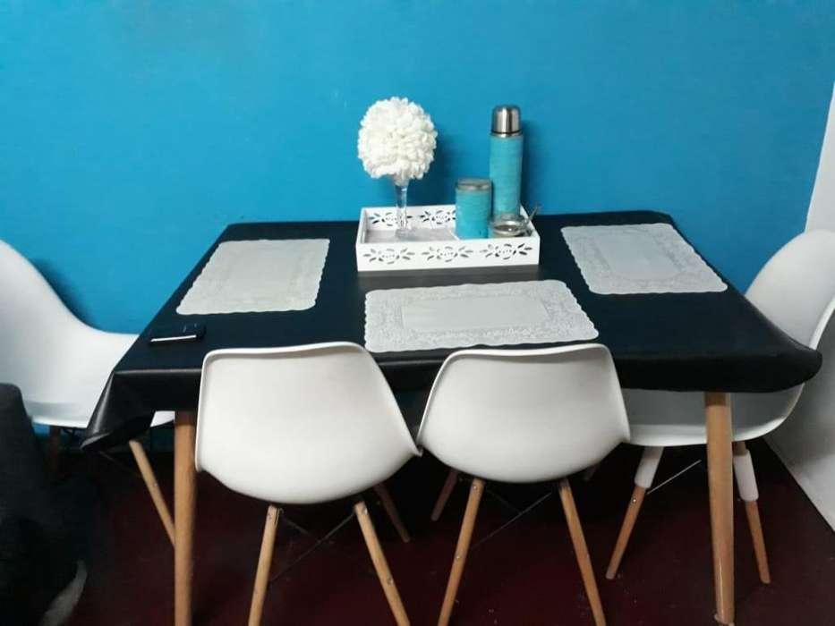 Mesa 4 <strong>sillas</strong> Eames Moderno Cocina Comedor