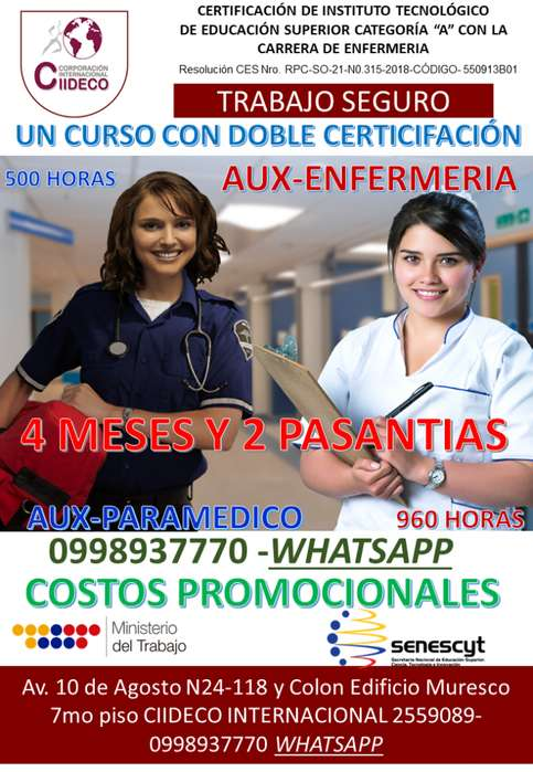 CURSOS AUXILIAR DE ENFERMERÍA, CAPACITACIÓN- QUITO- 0998937770
