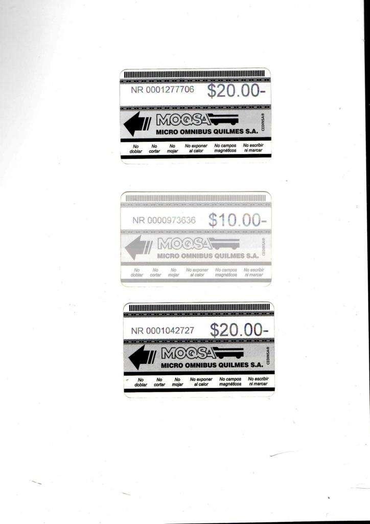 Tres tarjetas MOQSA, Micro Omnibus Quilmes, usadas.
