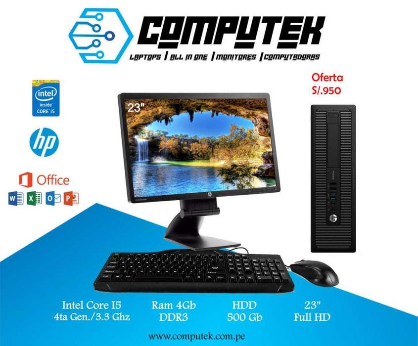 *HP PRODESK 600 G1 - Core i5 4 Gen, Ram 4Gb, Disco 500Gb Monitor 23