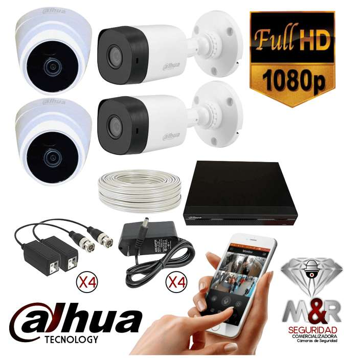 KIT 4 CAMARAS DE SEGURIDAD DAHUA 1080P 2MP