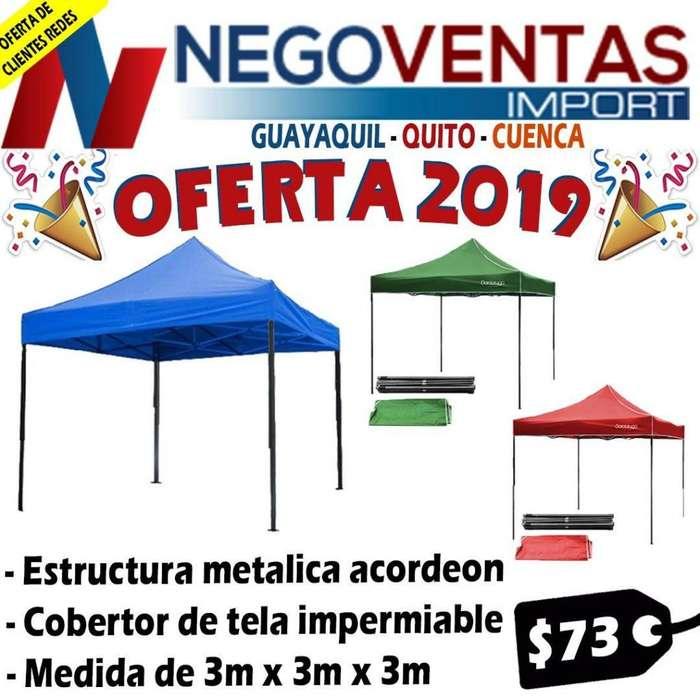CARPA 3X3 ESTRUCTURA METILICA REFORZADO TIPO ACORDEON TELA IMPERMEABLE DE OFERTA