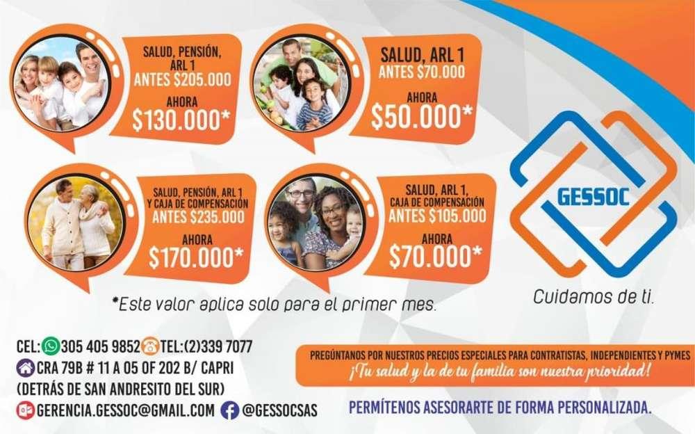 Afiliacion a Eps Salud Pension Arl Y Caja 50.000
