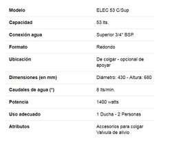 Termotanque Electrico Ecotermo/Pipuli 53 Lts Carga Superior
