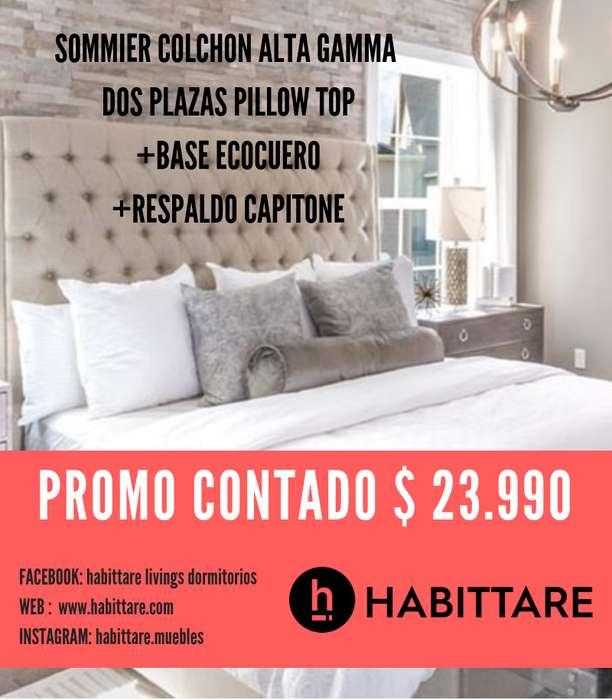 Promo Sommier colchon Dos plazas Resortes Alta Gama Respaldo ecocuero Capitone