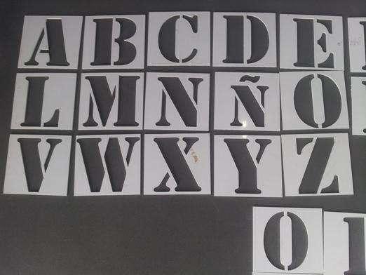 Abecedario Y Números En Tipografia Stencil. Ideal Plantilla