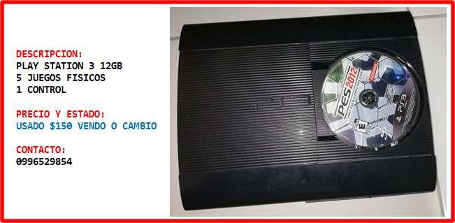 PLAY STATION 3 PS3 12GB 5 JUEGOS FISICOS VENDO O CAMBIO