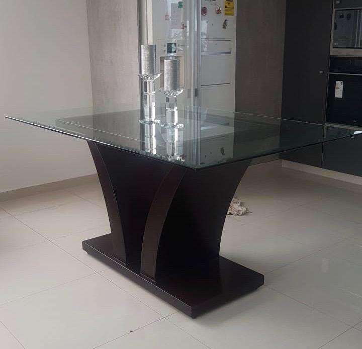 Mesa comedor vidrio y madera - Muebles - 1100105365