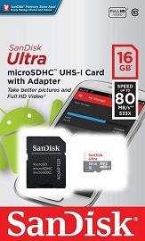 Memoria Micro SD Sandisk Original 16 GB 80 Mbp/seg