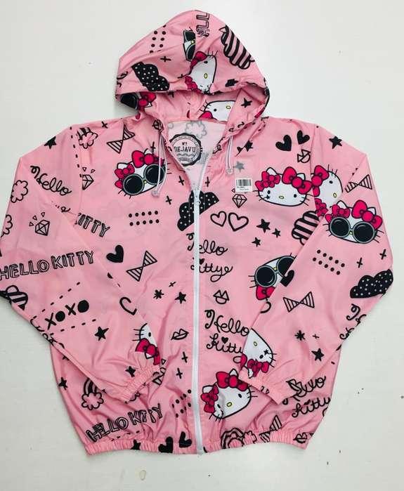 rompevientos de capota color rosa con hello kitty