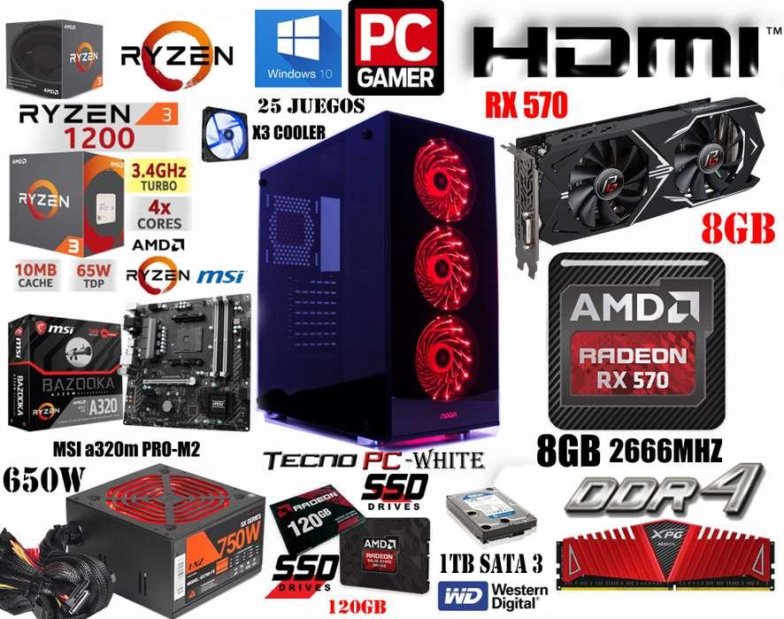 PC GAMER POWER 2 // NUEVA // RYZEN 3 1200 X4 / SSD 120GB / 1TB / 8GB DDR4 / RX 570 8GB / 750w Real