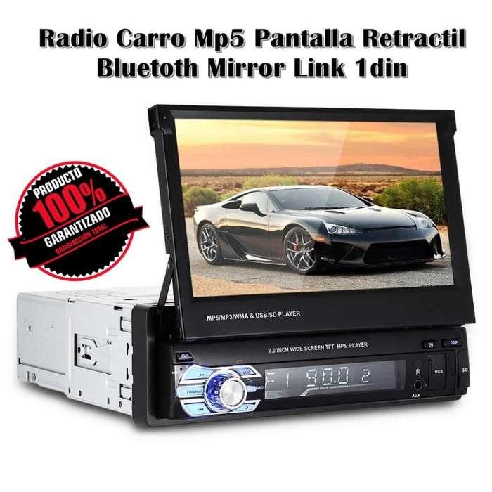 Radio Carro Mp5 Pantalla Retractil Bluetoth Mirror Link 1din