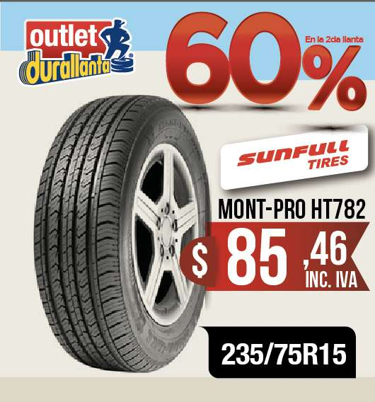 LLANTAS 235/75R15 SUNFULL MONT-PRO HT782 LUV D-MAX BT-50 KORANDO A230 Montero Sport 4WD