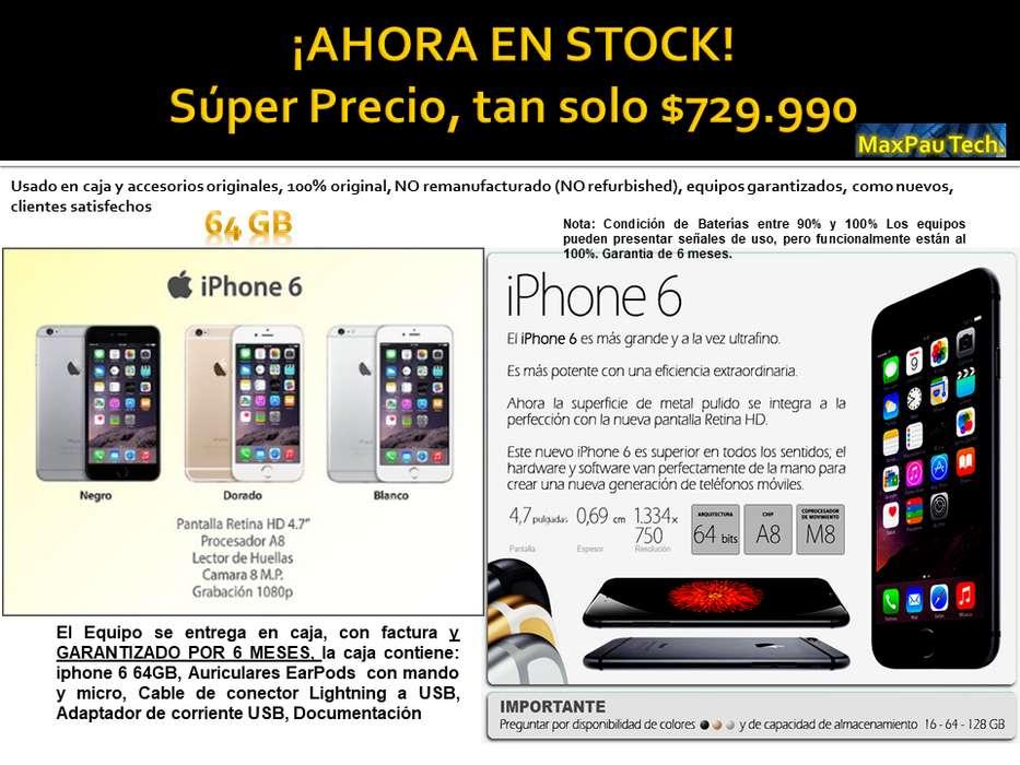 iPhone 6 de 64 Gb like new, libres, factura y garantia