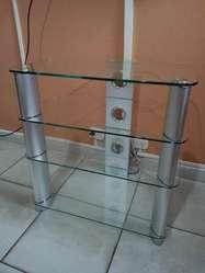 Mesa tv y playstation vidrio templado 4 estantes