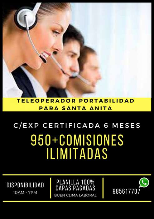 TELEOPERADOR PORTABILIDAD PARA SANTA ANITA