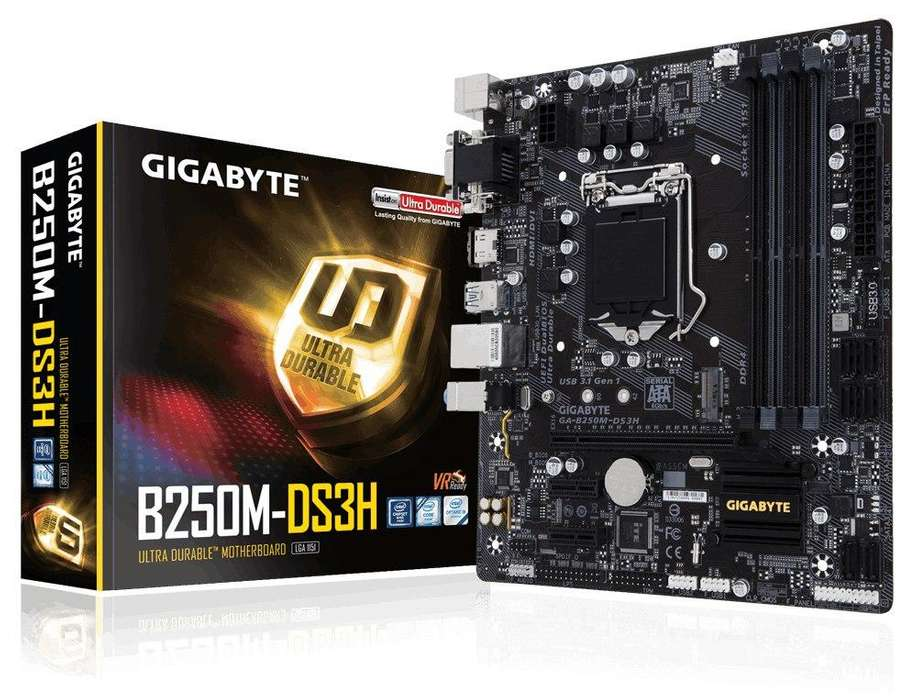 MAINBOARD GIGABYTE B250MDS3H S1151 7ta / DDR4 / VIDEO VGA / HDMI / DVID / USB 3.0 / 2xPCIE / PUERTO SERIAL