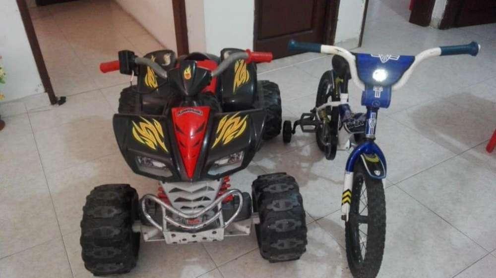 Moto Eléctrica y Bicicleta para Niño