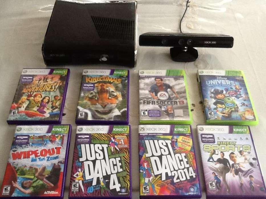 Xbox360 Slim Élite 250GB Cámara Kinect 2 Controles 8 Juegos Originales