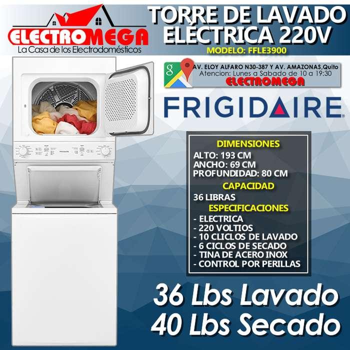 Torre <strong>lavadora</strong> y Secadora Eléctrica 17kg 36 Lbs Frigidaire 220v