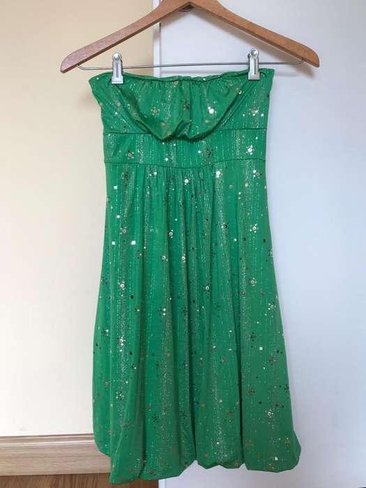Vestido de fiesta 15 verde brillos elastizado talle unico