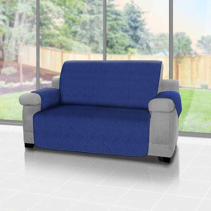 Forro protector de sofá y muebles reversible Azul 3 puestos