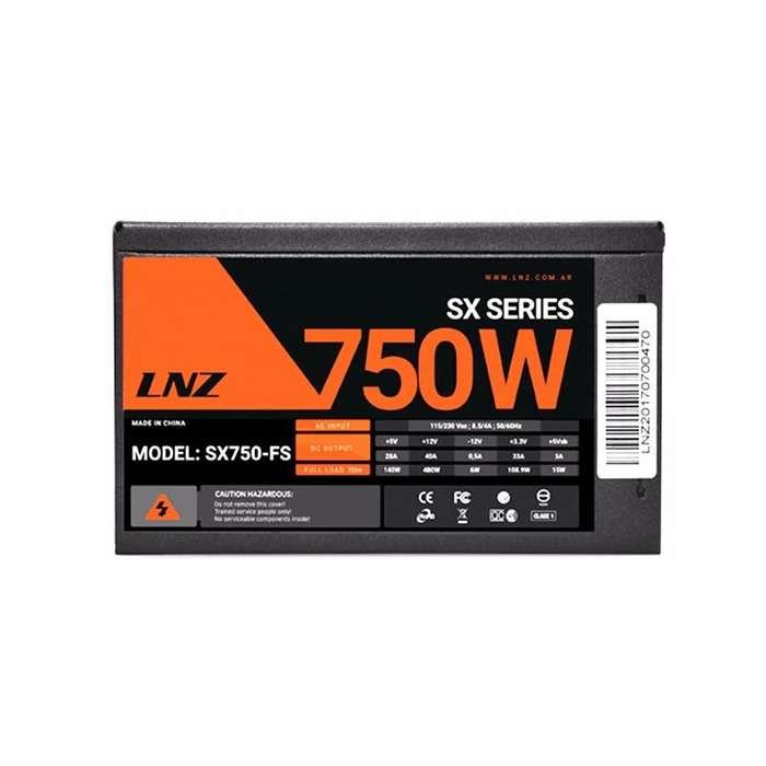 FUENTE PC GAMING 750W LNZ SX750W SEMIMODULAR MALLADO COOLER 120MM PROTECCION DE VOLTAJE