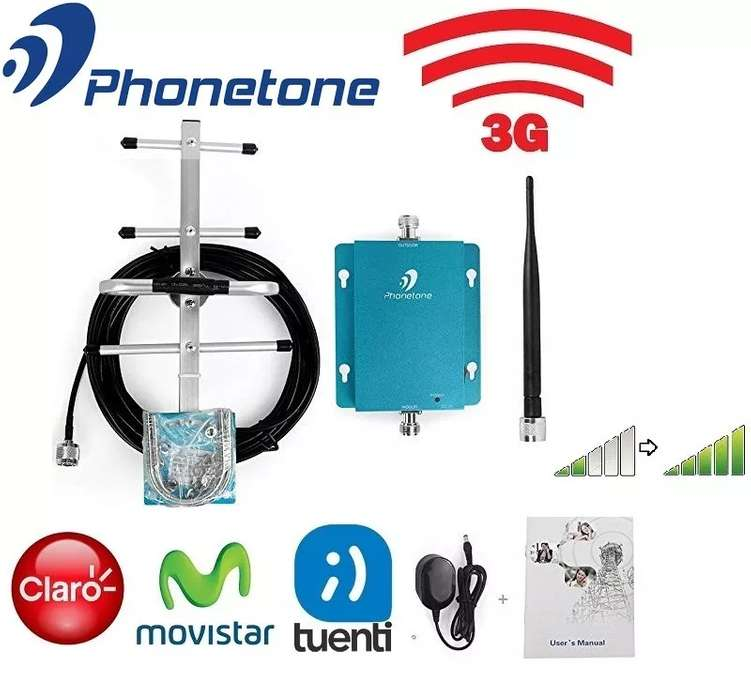 KIT AMPLIFICADOR SEÑAL CELULAR PHONETONE C980DAYB BANDA 850MHz 3G 60dB ANT. OUT. 8dBi CABLE 10M CON ANT. IND. OMNI 3dBi