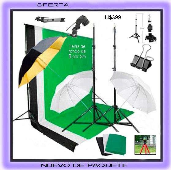 Completo <strong>estudio</strong> Fotográfico Pro Fondos Telas de 5x3m 3 Paraguas Nikon Canon