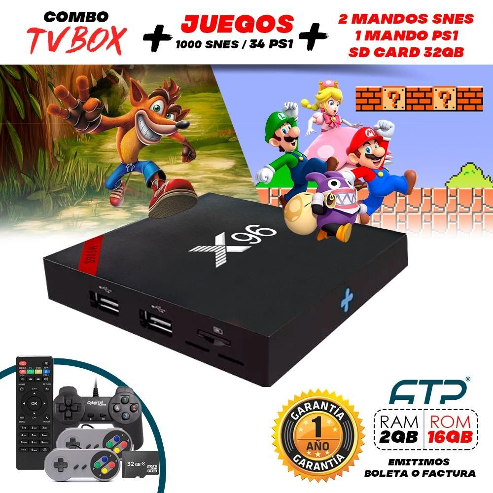 Tv box Android x96 2GB RAM  1000 juegos SNES  34 Juegos Play 1 2 Mandos Super Nintendo  1 mando Play station 1