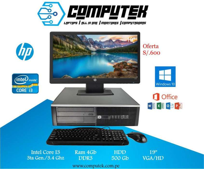 Hp Desktop 6300 - Core i3 3Gen, Ram 4Gb, Disco 500 Gb Monitor Led 19