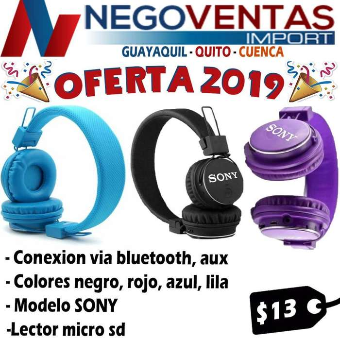 AUDIFONOS SONY BLUETOOTH VARIOS COLORES