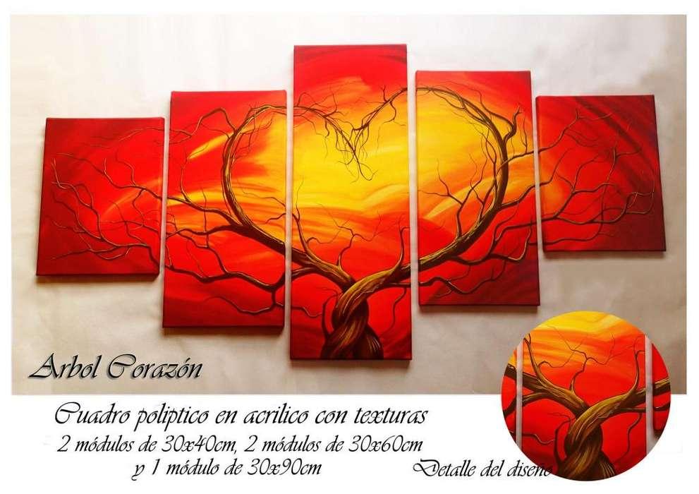 Cuadros Grandes Tripticos decorativos Acrilicos texturados Arbol Corazon