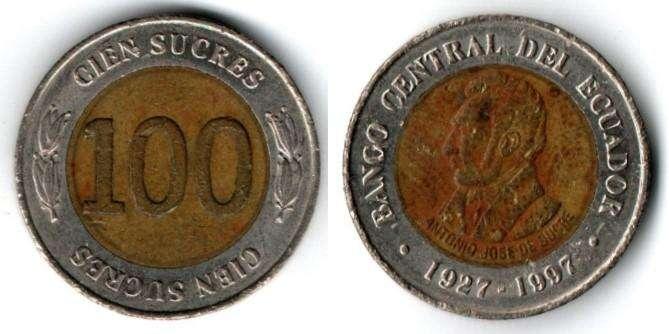 ECUADOR. MONEDA. 100 SUCRES. 1927-1997. KM 101. ESTADO 6 DE 10. VALOR 2000