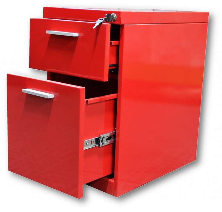 Cajonera metálica roja frente 30 1x1 diferentes usos y ambientes