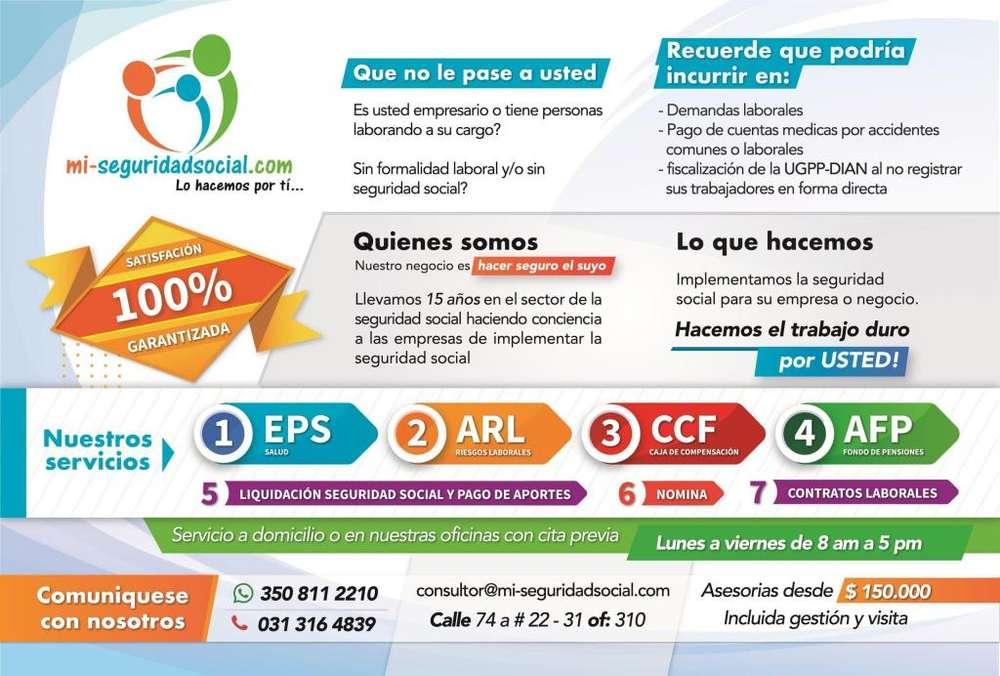 Afiliaciones Legales EPS ARL CAJA PENSIÓN DESDE 79.990
