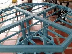 Mesa Vintage Elaborada En Madera Cedro Importada