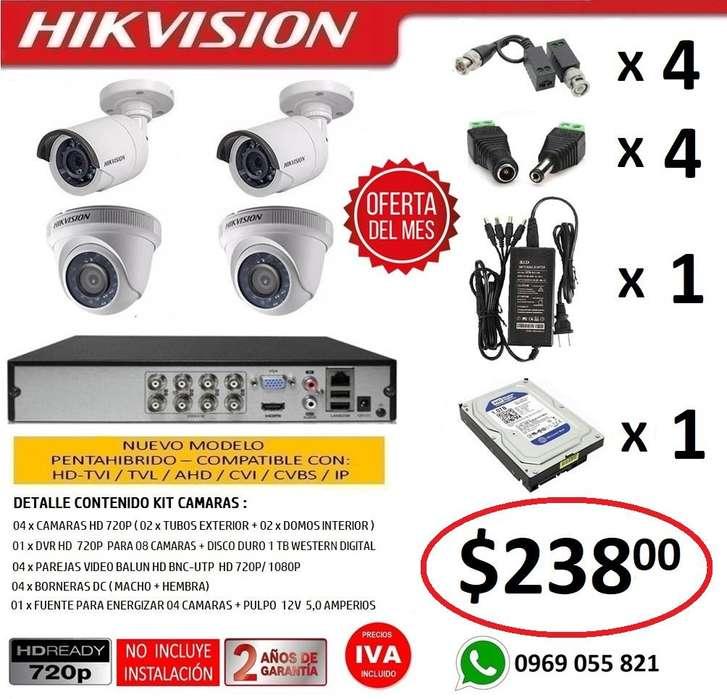 Combo 4 <strong>camara</strong>s Seguridad Vigilancia Hd 720p Original Hikvision