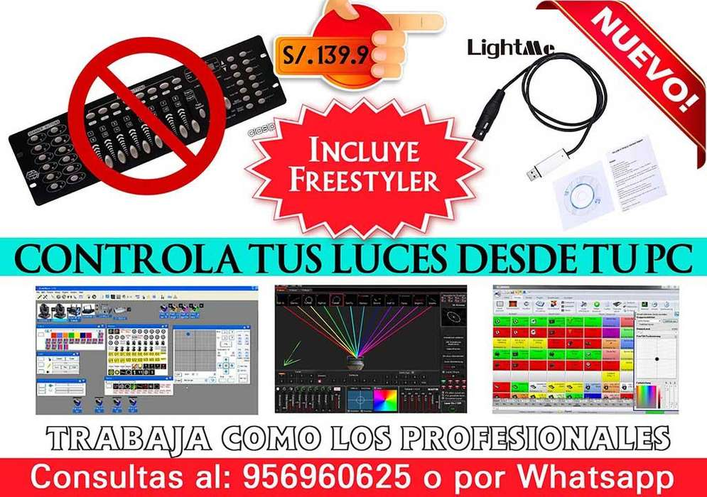 INTERFACE DMX to USB PARA LUCES DE DISCOTECA
