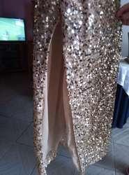 Vestido Dorado Elegante Talla L Mujer