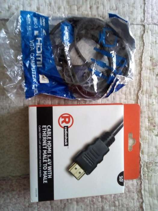 Cables HDMI VGA y Cable HDMI 1.4 V1 (Ethernet) para computadora y server