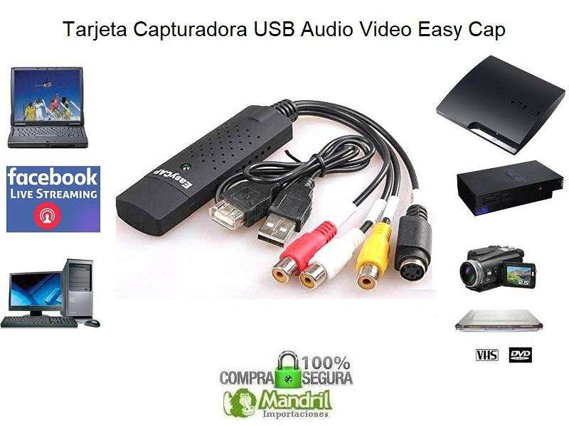 Tarjeta Capturadora Video RCA Sonido Usb Easycap Streaming Deco PS2 PS3