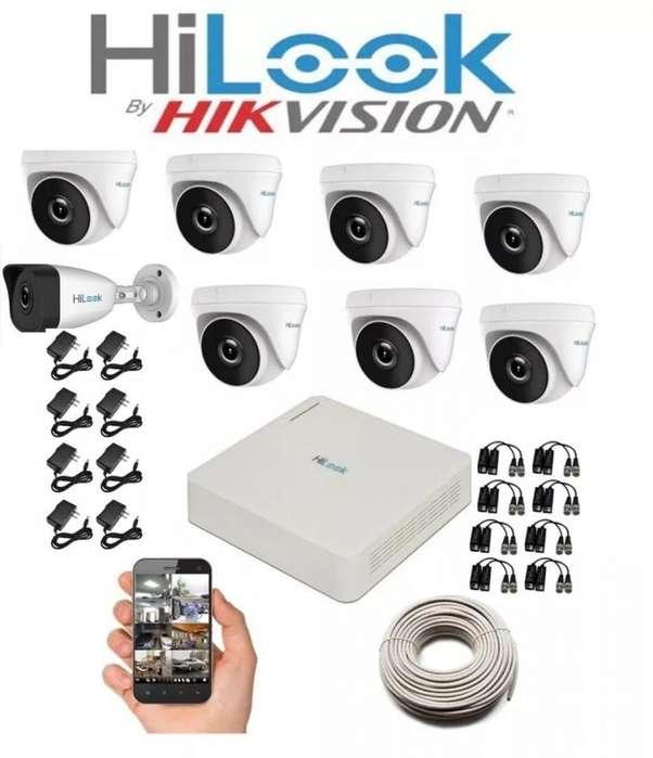 Kit Hikvision Hilook Dvr 1080 8 Ch 8 Cámaras Seguridad GRATIS MICRÓFONO HD LLAMA YA 3228806864