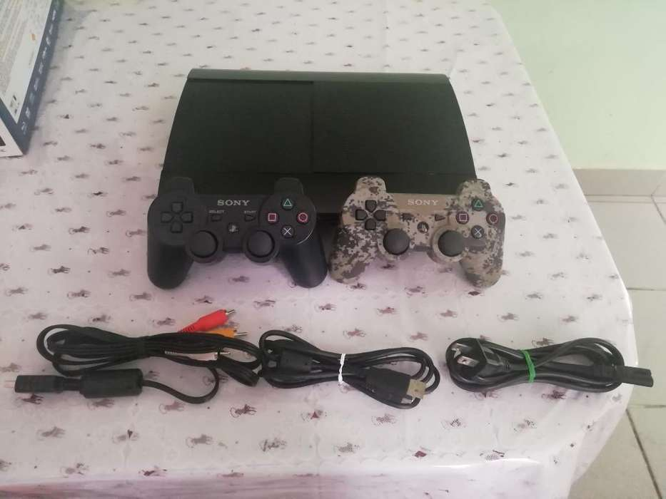 Ps3 Super Slim 500gb, 2 Mandos, 7juegos