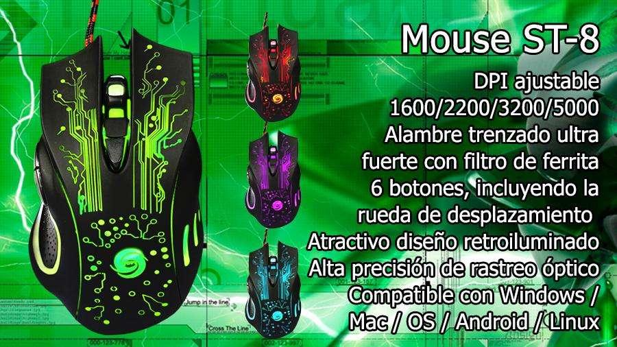 Mouse Gamer St8 Retroiluminado / Alambre trenzado con filtro de ferrita