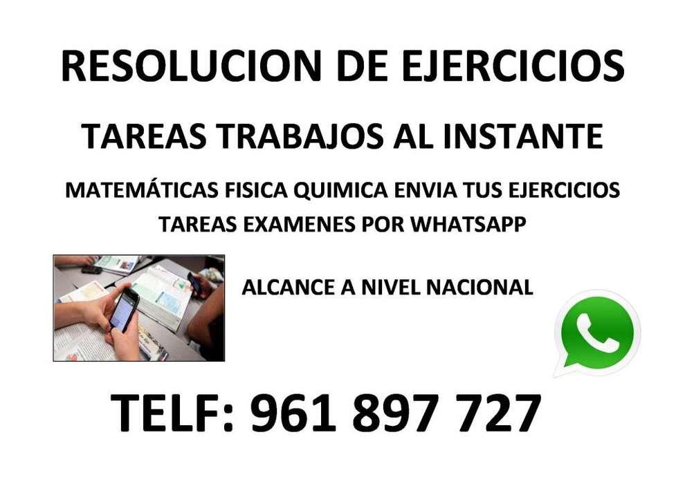 RESOLUCION DE EJERCICIOS TAREAS TRABAJOS AL INSTANTE MATEMÁTICAS FISICA QUIMICA POR WHATSAPP