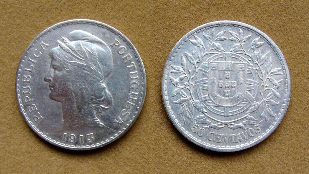 Moneda de 50 centavos de plata, Portugal año 1913