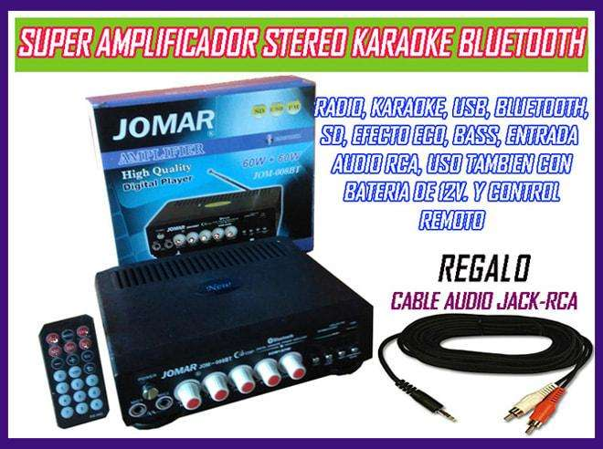 Amplificador 60 Watts radio venta con 2 entradas Micro, Bluetooth, USB, control